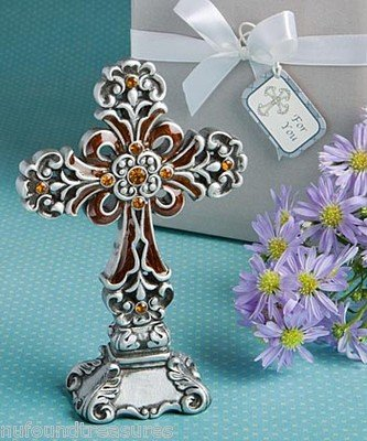Christian Ornate Standing Cross on Base with Gift Box and Ribbon