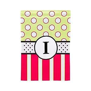 Monogram Peppy rosa lunares doble cara bandera de Jardín tamaño I