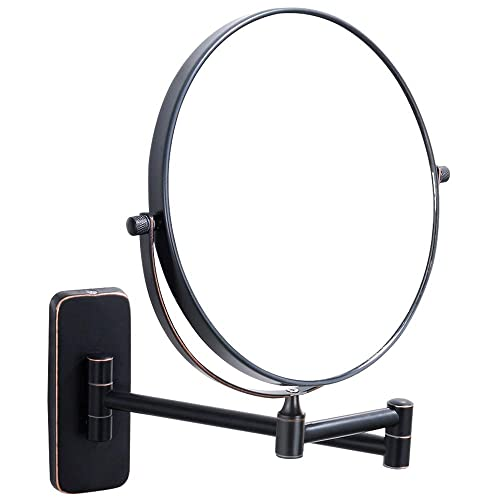 Nicesail Black Makeup Mirrors For Wall 8 Inch, Double-Side 10x Magnifying Mirror Mounted, Oil Rubbed Bronze 8 Inch, 10X