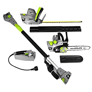 "Earthwise CVP41810 4-in1 Multi Tool- Converts into 4 tools. 7 Amp 10"" Handheld/Pole Saw - 4.5 Amp 17"" Hedge Trimmer/Pole Hedge Trimmer"