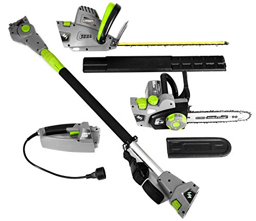 Earthwise CVP41810 4-in1 Multi Tool- Converts into 4 tools. 7 Amp 10'' Handheld/Pole Saw - 4.5 Amp 17'' Hedge Trimmer/Pole Hedge Trimmer by Earthwise