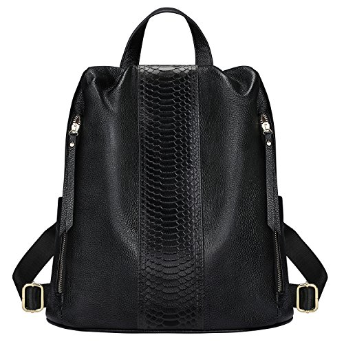 S-ZONE Genuine Leather Backpack for Women Anti-theft Shoulder Bag Lightweight Casual Purse (Black) by S-ZONE