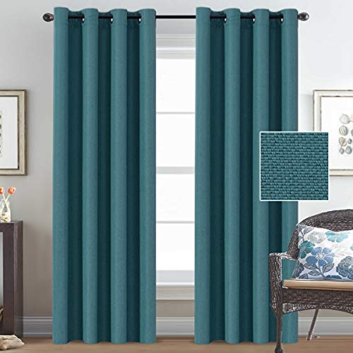 (H.VERSAILTEX Primitive Burlap Linen Curtains for Bedroom 84 Room Darkening Thermal Insulated Living Room Curtains, Antique Grommet Linen Window Drapes, 52 by 84 Inch - Aegean Blue (2 Panels))