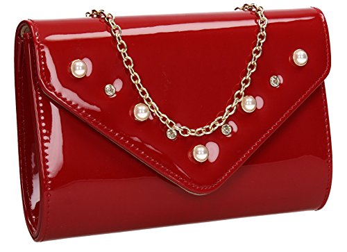 SWANKYSWANS Ladies Night Red Bag Patent Envelope Party Clutch Stud Diamante Out Callie Prom Evening Wedding Celebrity Pxrq84Pwa