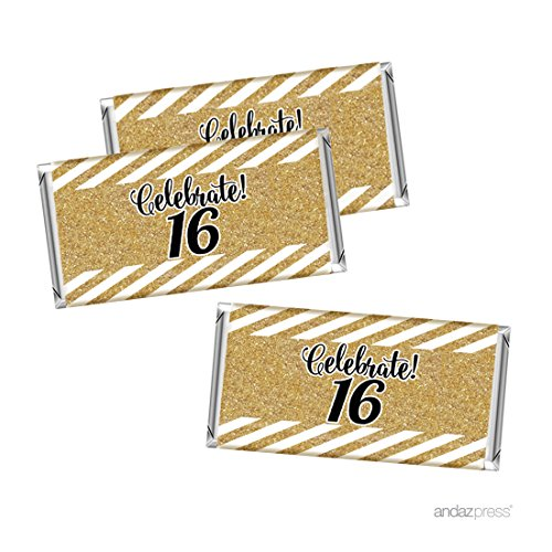 Andaz Press Milestone Hershey Bar Party Favor Labels Stickers, Celebrate 16, 16th Birthday or Anniversary, 10-Pack, Printed Gold Glitter, Not Real Glitter