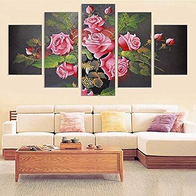 ZDLYY Five canvas paintings home decor Hot sale floral canvas