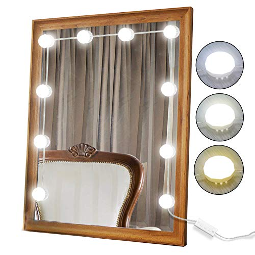 2018 Newest Vanity Mirror Lights Kit Hollywood Style 10 Dimmable LED Light Bulbs Warm White to Daylight Tunable, Linkable Lighting for Makeup Vanity Table Set / Dressing Room (Mirror Not Included)