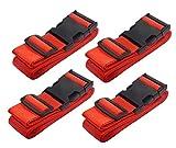 LLFSD Adjustable Luggage Straps Suitcase Belt Travel Bag Strap (Red 4Pieces)