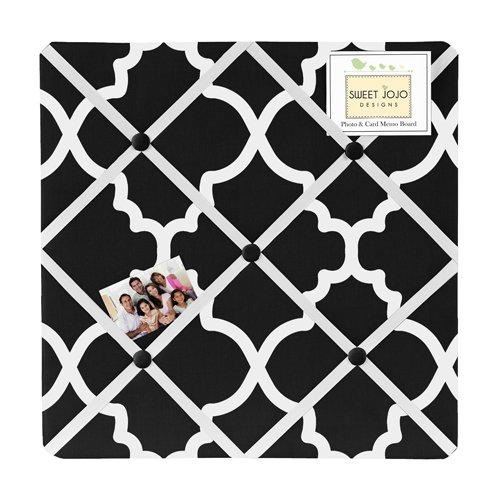 Sweet Jojo Designs Black and White Trellis Print Lattice Fabric Memory/Memo Photo Bulletin Board