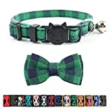 Cat Collar Breakaway with Bell and Bow Tie, Plaid Design Adjustable Safety Kitty Kitten Collars(6.8-10.8in) (Green Plaid)