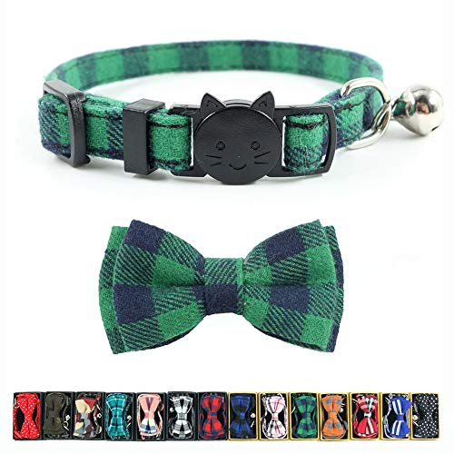 Cat Collar Breakaway with Bell and Bow Tie, Plaid Design Adjustable Safety Kitty Kitten Collars(6.8-10.8in) (Green Plaid) ()