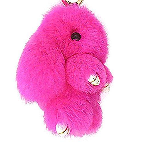 Soft Cute Bunny Charm Ring Keyfob Rabbit Fur Keyring Fluffy Pompom Keychain Decoration (Red Rabbit Charm)