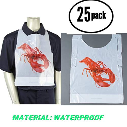 Disposable Plastic lobster bibs 25 pack Disposable Adult Lobster Bibs Crawfish Bibs (25) ()