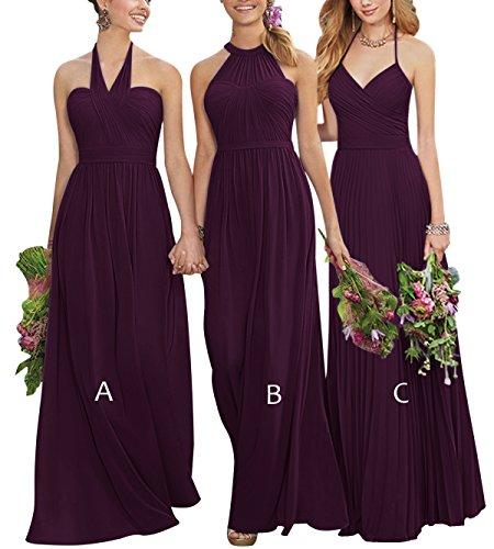 6143f6ea1d4 XJLY Women s A Line Halter Long Chiffon Bridesmaid Dresses Wedding Evening  Dress