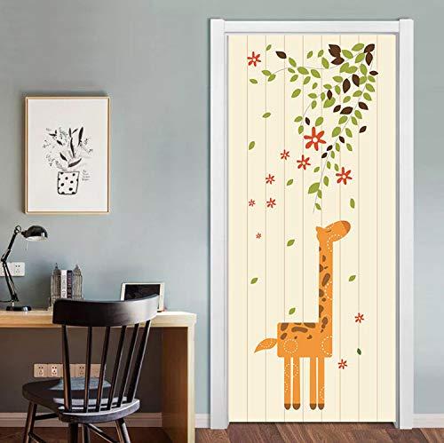 xsongue t/üraufkleber Kinder DIY Elephant Birds Door Stickers for Kid Room Living Room Self Adhesive Cartoon Animals PVC Mural 3D Cute Waterproof Door Poster
