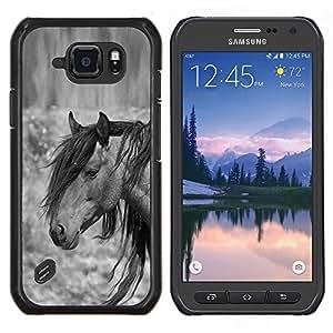Dragon Case - FOR Samsung Galaxy S6 active/G870A/G890A (Not Fit S6) - pony horse mane grey black animal - Caja protectora de pl??stico duro de la cubierta Dise?¡Ào Slim Fit