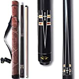 TaiBA 2-Piece Pool Stick + Hard Case, 13mm Tip, 58', Hardwood Canadian Maple Professional Billiard Pool Cue Stick 19-22 Oz (Selectable)-Blue, Black, Red, Gray, Green, Brown