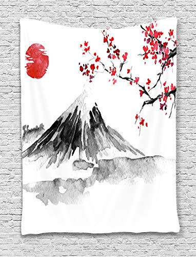 Japanese Mount Fuji Decor Vertical Tapestry, Asian Cherry Blossoms Sakura Floral Spring Sunset Ink Painting Art Wall Hanging for Bedroom Living Room College Dorm TV Backdrop Wall Blankets 40X60 Inches