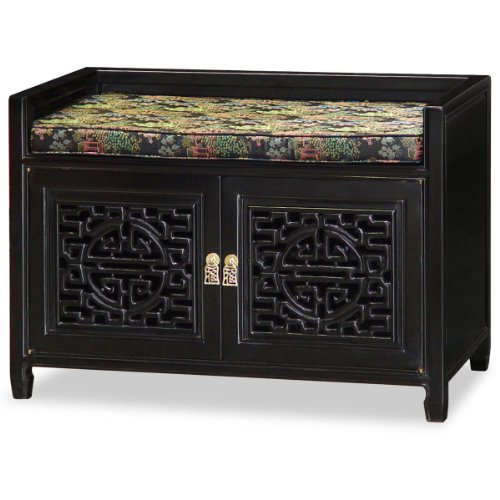 Rosewood Furniture China (China Furniture Online Rosewood Bench with Silk Cushion, 32 Inches Longevity Design Shoe Bench with Courtyard Motif Cushion in Black Ebony Finish)