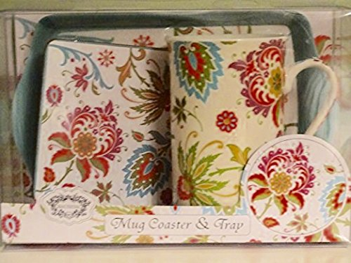 Kent Pottery - Kent Pottery Mug Coaster and Tray Set Floral Design