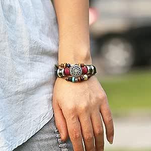 Leather Bracelet Personality Sunflower Wooden Bead Bracelet For Women Men Unisex Jewelry