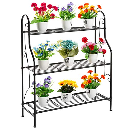 DOEWORKS 3 Tier Metal Plant Stand, Plant Display Rack,Stand Shelf, Pot Holder for Indoor Outdoor Use, Black (Plant Outdoor Metal Stand)