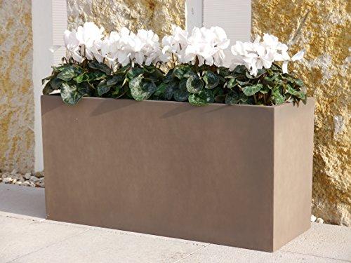 Pflanztrog aus Fiberglas 80x30x40cm in terrabraun, Pflanzkübel, Blumenkübel, Pflanztröge, Blumenkasten