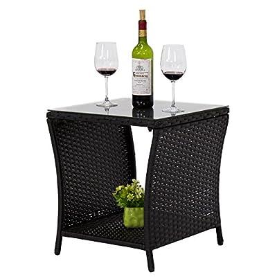 Kinbor Black Outdoor Square Wicker Rattan Side Coffee Table w/Glass Top Patio Furniture with Storage Shelf