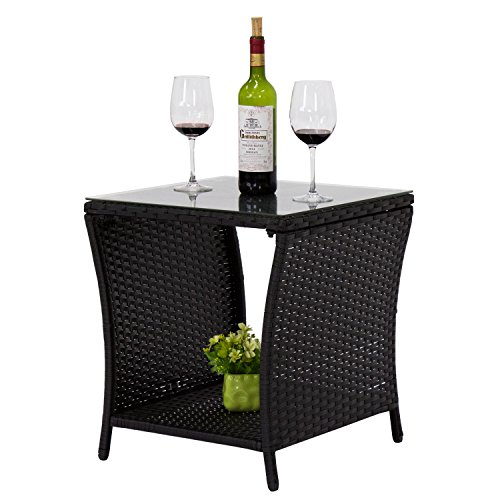 Kinbor Black Outdoor Square Wicker Rattan Side Tea Table w/Glass Top Patio Furniture with Storage (Durable Furniture Most Patio)