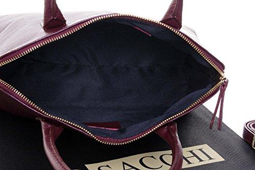 Sac Primo Sacchi ® en cuir, texture italienne, style bowling, sac à main ou sac à bandoulière   Comprend un étui de protection de marque rouge foncé