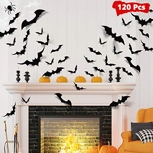 Diy Halloween Decorations Scary (LUDILO 120pcs Halloween Bats Decorations Halloween Wall Decorations Bat Stickers Wall Decals PVC 3D Wall Bats Scary Stickers Halloween Party Decorations Indoor Outdoor DIY Home Window Door)