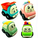 Mini Cartoon Toy Cars,Set of 3 Play Vehicles - Push and Go Toys Friction Powered Cars Toy Vehicles - Police Cars Dump Trucks Small Vehicles For Baby Toddlers Kids/Boys/Girls/Kids Gift ( Random Color)