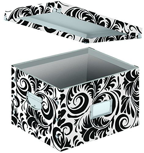 - Snap-N-Store Letter and Legal File Box, Interior Dimensions 9.5 x 14.75 x 12.25 Inches, Black and White Scroll Design (SNS01835)