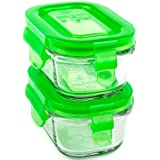 Wean Green Wean Tubs 5.1oz/150ml Baby Food Glass Containers - Pea (Set of 2)