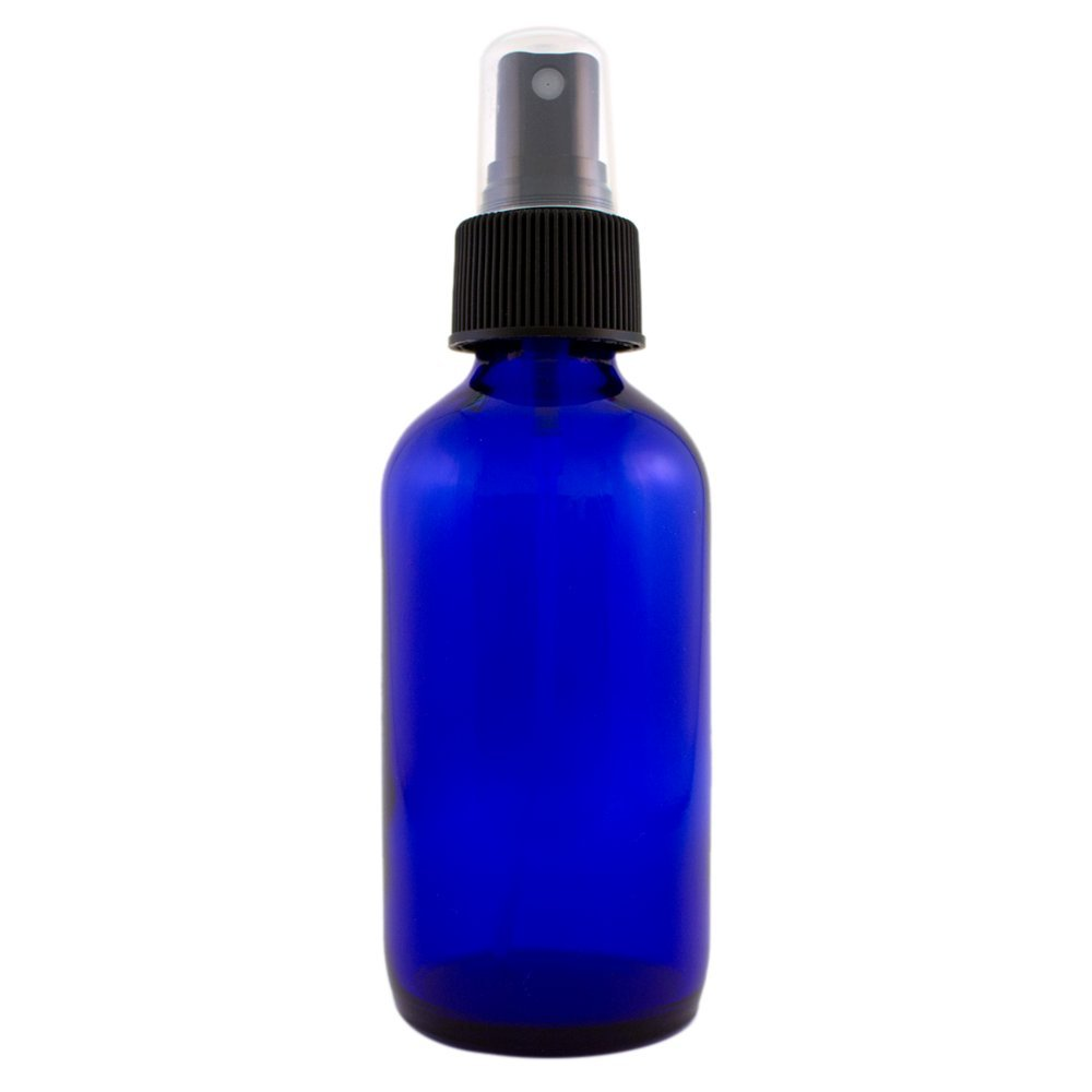Blue 4oz Glass Bottle with Pump for Essential Oils Black Spray