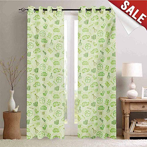 Hengshu Baby Customized Curtains Cartoon Doodle Drawing Style Funny Infant Toys Balls Cars Teddy Bears Crayons Pattern Blackout Window Curtain W96 x L108 Inch Pale Green -