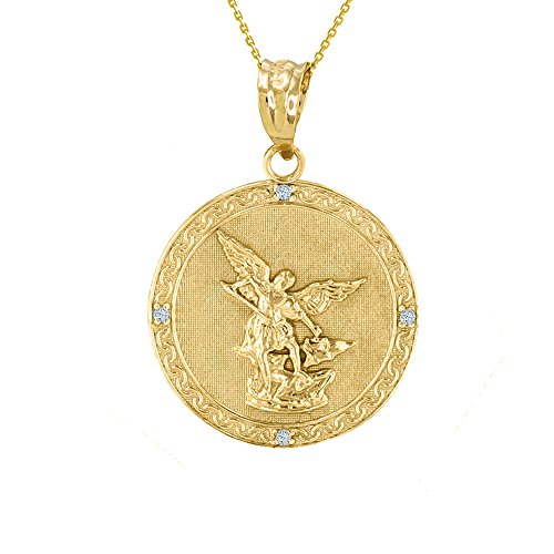 - 14k Gold Saint Michael The Archangel Diamond Medal Necklace (1