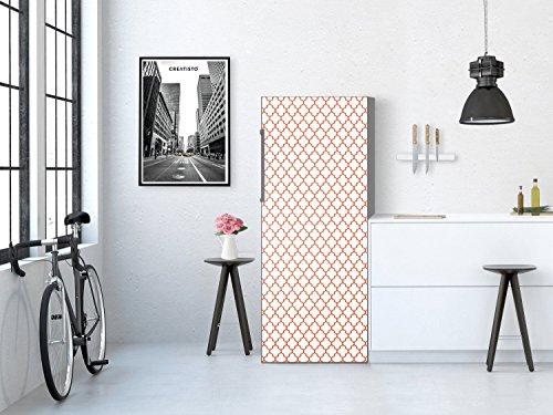 Kühlschrankfolien Kühlschrank 60x150 cm | Dekorfolie Kühlschrank-Sticker Folie Tapete abwaschbar Kühlschrank renovieren Einbauküche | Muster Ornament Retro Pattern - Rot