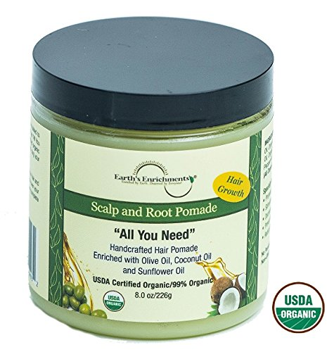 Pomade for Hair Growth, Organic Pomade, Stops Itchy, Dry Scalp and Dandruff, Enriched with Hemp Seed, Tea Tree, Rosemary, and Lavender Oil, Great for Thick, Straight, or Curly Hair, Hair Grease, 8oz ()