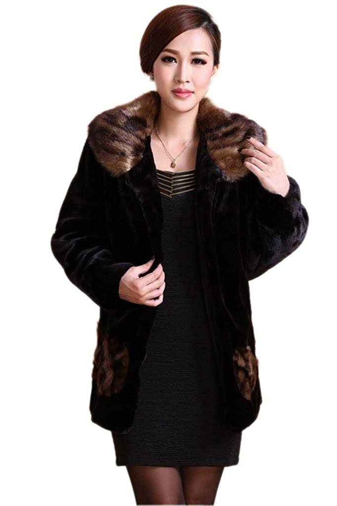 YR Lover New Women Winter Warm Luxury Mink Cashmere Fur Coat Fashion Overcoat