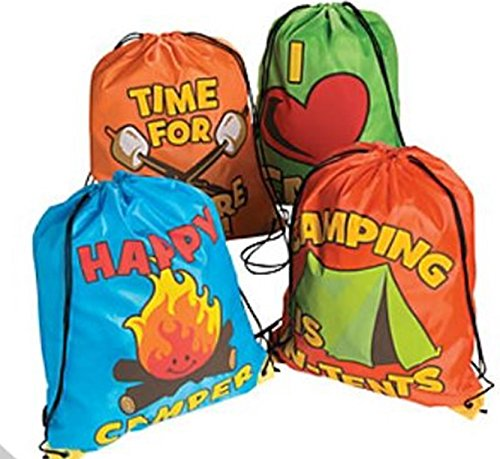 12 - Camping theme backpacks- CAMPING PARTY FAVORS - I Love Camping bags (Favors Party Camping)