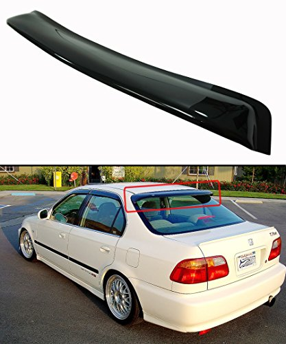 Cuztom Tuning Fits for 1996-2000 Honda Civic 4 Door Sedan JDM Smoke Tinted Rear Window Roof Visor Spoiler Deflecor ()
