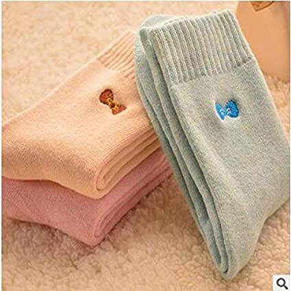 DeemoShop 2018 Limited Christmas Socks Calcetines Mujer Winter Thickening Warm Socks Cotton Bristles Embroidery Bowknot Towel