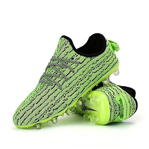 Xing Lin Fußballschuhe Neuen Fußball Schuhe Kaputt Nägel Atmungsaktiv Fliegen Webart Mesh Training Schuhe Primäre Und Sekundäre Studenten Erwachsenenbildung Rutschfeste Füße Leder, 40, Grüne Spitzen