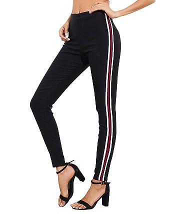 8c111c12abbc Tomwell Damen Sporthose DREI Streifen Tunnelzug Slim Fit Stretch  Jogginghose Yogapants Freizeithose Sportlich Hosen