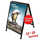 T-Sign22'' x 28''Slide-in Folding A-Frame Sidewalk Curb SignDouble-Sided Displaywith Two Corrugated Plastic Poster Boards for Outdoor Advertisement - Black Coated Steel Metal