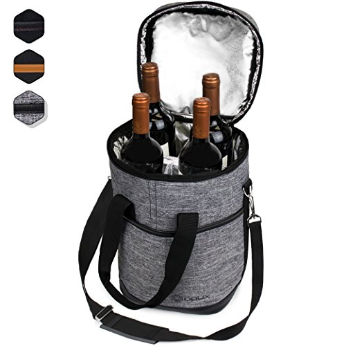 - Premium Insulated 4 Bottle Wine Carrier Tote Bag | Wine Travel Bag with Shoulder Strap and Padded Protection | Wine Cooler Bag (Heather Gray)