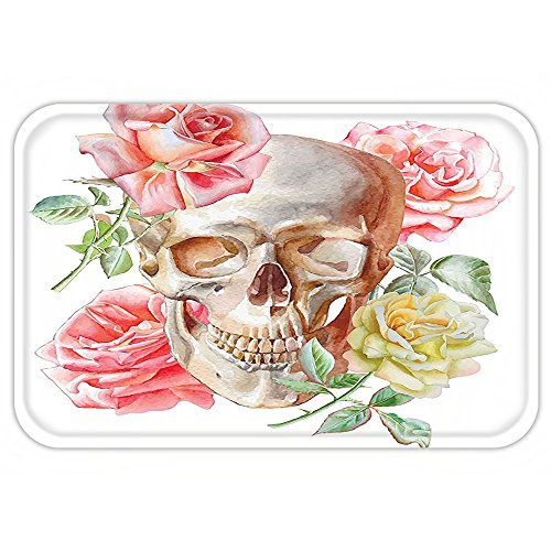 VROSELV Custom Door MatSkullDecoration Skull with RoseLiving and the Dead Humor Romantic Evil Face Image Art Deco Decor Pink Beige - Images Shapes Of Face