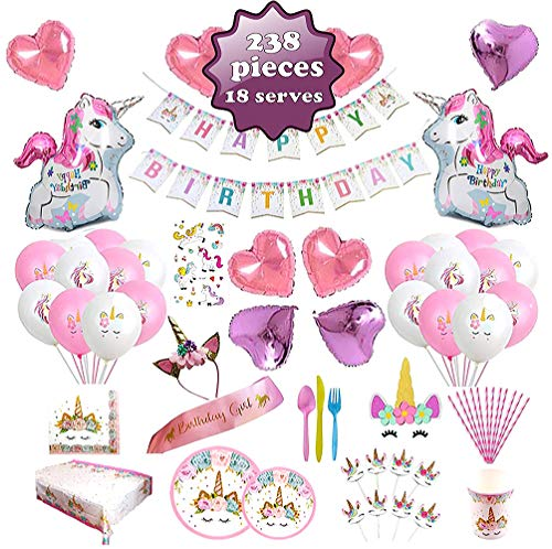 Unicorn Party Supplies set - 238 PCS - 18 Serves | Unicorn Decoration | Tableware | Favors | Balloons | Free Bonus ()