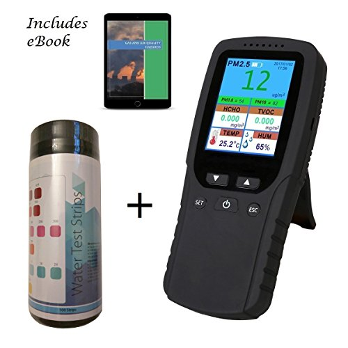 Air Quality Pollution Monitor / Detector, Water Test Kit, eBook Bundle; Dust Meter, Sensor, Tester; Detect PM2.5/PM1.0/PM10 Particulate Matter, Test Indoor Formaldehyde, TVOC Volatile Organic Compound